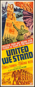 "Movie Posters:Documentary, United We Stand (20th Century Fox, 1942). Insert (14"" X 36""). Documentary.. ..."