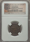 Civil War Tokens, (1861-65) S.W. Beall, Nebraska Territory, NT FKb-25B, R.6 --Damaged -- NGC Details. XF. ...