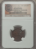 Civil War Tokens, (1861-65) S.W. Beall, Nebraska Territory, NT FKb-10B, R.7 --Damaged -- NGC Details. AU. ...
