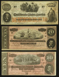 Confederate Notes:Group Lots, T41 $100 1862 PF-11 Cr. 319A. T67 $20 1864. T68 $10 1864. ...(Total: 3 notes)