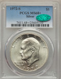 Eisenhower Dollars, 1972-S $1 SILVER MS68+ PCGS. CAC. PCGS Population (1770/23 and 17/0+). NGC Census: (414/4 and 2/0+). Mintage: 2,193,056. Nu...