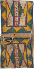 American Indian Art:Baskets, Fine Large Parfleche Saddle Bag....