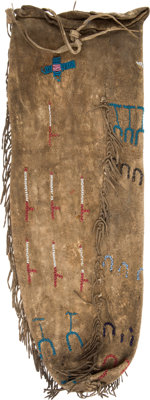 Early Large Beaded Hide Drawstring Pouch, Possibly a Pipe Bag