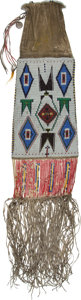 American Indian Art:Beadwork and Quillwork, Very Large Beaded and Quilled Pipe Bag Which Belonged to OgalalaSioux Chief American Horse (1840-1908)....