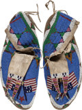 American Indian Art:Beadwork and Quillwork, Important Pair of Beaded Hide Moccasins Belonging to Chief Red Cloud.... (Total: 3 Items)