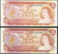 Canadian Currency: , $2 1974. . ... (Total: 2 notes)