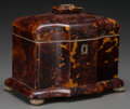 Decorative Arts, British:Other , A Regency Tortoiseshell, Bone, and Mother-of-Pearl Tea Caddy, circa1820. 6-1/2 x 7-7/8 x 5-1/8 inches (16.5 x 20.0 x 13.0 c...