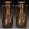 Decorative Arts, Continental:Other , A Pair of Leon Kann Patinated Bronze Vases, circa 1910. Marks: LKann, 422A; 423A. 12 inches high (30.5 cm). ... (Total: 2Items)