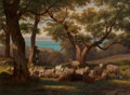 Fine Art - Painting, European:Antique  (Pre 1900), Guillaume Wintz (French, 1823-1899). Shepherd and Flock inLandscape, 1872. Oil on canvas. 29 x 39-1/2 inches (73.7 x10...
