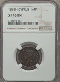 Cyprus:British Colony, Cyprus: British Colony. Victoria 1/4 Piastre 1881-H XF45 Brown NGC,...