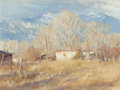 Fine Art - Painting, American:Contemporary   (1950 to present)  , John Encinias (American, b. 1949). Winter's Day and TaosCottonwoods (two works), 1993. Oil on board, each. 12x... (Total: 2 Items)