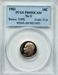 Proof Roosevelt Dimes, 1983 10C NO S PR69 Deep Cameo PCGS. PCGS Population (187/2). NGCCensus: (108/4). Numismedia Wsl. Price for problem free N...