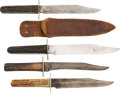 Edged Weapons:Knives, Lot of Four Stag Handle Sheath Knives.... (Total: 4 Items)