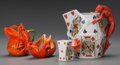 Ceramics & Porcelain, A Group of Four Royal Bayreuth Cold Painted Porcelain Devil and Playing Cards & Lobster Table Articles... (Total: 4 Items)
