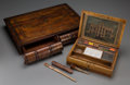 Decorative Arts, Continental:Other , An Edwardian Wooden Artist's Paint Box and Mahogany Faux Book, 19thcentury. Marks to artist's box: J Newman's Manufactory...(Total: 2 Items)