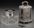 Silver Holloware, British:Holloware, A Mappin and Webb Silver and Crystal Clock-Form Inkwell andFrancois-Arsene Margain French Silver-Plated Carriage Clock, cir...(Total: 3 Items)