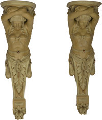 A Pair of Architectural Painted and Partial Gilt Plaster Caryatid Brackets, circa 1920 53-3/4 h x 15-1/2 w x 15 d