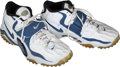 Football Collectibles:Others, 1998 Barry Sanders Game Worn, Signed Detroit Lions Turf Shoes from the Last Home Game of his Career....