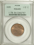 Half Cents, 1835 1/2 C MS64 Red PCGS....