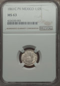 Mexico, Mexico: Republic 1/2 Real 1861 C-PV MS63 NGC,...