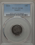 Bust Dimes: , 1834 10C Small 4 XF40 PCGS. PCGS Population (9/179). NGC Census:(21/260). Mintage: 635,000. Numismedia Wsl. Price for prob...