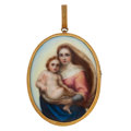 Estate Jewelry:Brooches - Pins, Antique Painted Portrait, Glass, Gold Pendant-Brooch-Locket. ...