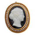 Estate Jewelry:Brooches - Pins, Victorian Hardstone Cameo, Seed Pearl, Gold Pendant-Brooch. ...