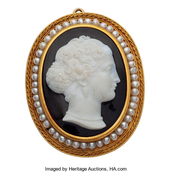 844cd3440 Estate Jewelry:Brooches - Pins, Victorian Hardstone Cameo, Seed Pearl, Gold  Pendant