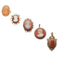 Estate Jewelry:Cameos, Victorian Hardstone Cameo, Seed Pearl, Gold, Yellow Metal Jewelry. ... (Total: 5 Items)