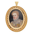 Estate Jewelry:Brooches - Pins, Diamond, Ruby, Emerald, Painted Portrait, Gold Pendant-Brooch. ...