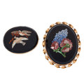 Estate Jewelry:Brooches - Pins, Victorian Hardstone Micromosaic, Gold, Silver, Base Metal Brooches. ... (Total: 2 Items)