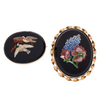 Victorian Hardstone Micromosaic, Gold, Silver, Base Metal Brooches
