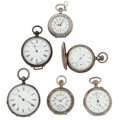 Timepieces:Pocket (post 1900), Six Silver Lady's Pocket Watches. ... (Total: 6 Items)