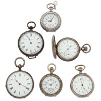 Six Silver Lady's Pocket Watches