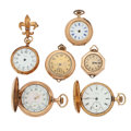 Timepieces:Pocket (post 1900), Three Are 14k Gold, Three Lady's Pocket Watches & Three Pendants . ... (Total: 6 Items)