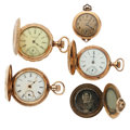 Timepieces:Pocket (post 1900), Pendant 14k Gold, Vintage Photo Locket & 3 Pocket Watches. ...(Total: 5 Items)