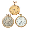 Timepieces:Pocket (post 1900), Hamilton & Two Elgin's Open Face Pocket Watches. ... (Total: 3 Items)