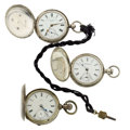 Timepieces:Pocket (pre 1900) , Three Key Wind 18 Size Hunter Cases Pocket Watches. ... (Total: 3Items)