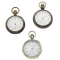 Timepieces:Pocket (post 1900), Two Elgin's & Waltham 18 Size Pocket Watches. ... (Total: 3 Items)