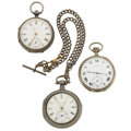 Timepieces:Pocket (pre 1900) , Longines, Lever Fusee Pair Case & Swiss Silver Pocket Watches. ... (Total: 3 Items)