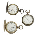 Timepieces:Pocket (post 1900), Three Coin Silver Key Wind Pocket Watches for Parts Or Repair. ...(Total: 3 Items)