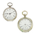 Timepieces:Pocket (pre 1900) , Waltham & Elgin Key Wind 18 Size Pocket Watches. ... (Total: 2Items)