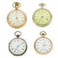 Timepieces:Pocket (post 1900), Two Waltham's, Illinois & Swiss Lever Fusee Pocket Watches. ...(Total: 4 Items)