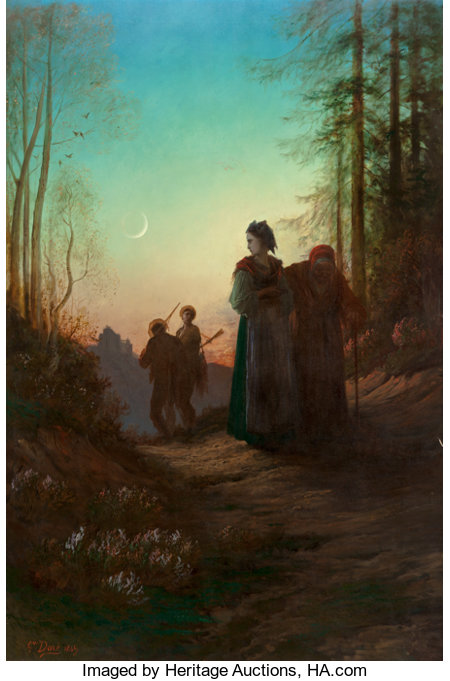 Gustave Doré (French, 1832-1883) Lorraine, 1869 Oil on canvas 77 x 51-1/2 inches (195.6 x 130.8 cm) Signed and dated...