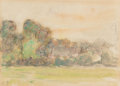 Fine Art - Painting, European:Other , Camille Pissarro (French, 1830-1903). Landscape with houses. Watercolor over pencil on paper. 4-7/8 x 6-3/4 inches (12.4...