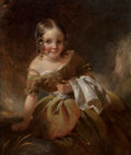 , Attributed to John Watson Gordon (British, 1788-1864). Portraitof a young girl with curls in an olive green dress. Oil ...