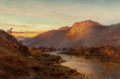 Fine Art - Painting, European:Antique  (Pre 1900), Alfred de Bréanski (British, 1852-1928). Below the Falls ofGlenfinlas, Scotland. Oil on canvas. 16 x 24 inches (40.6 x ...