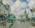 Fine Art - Painting, European:Modern  (1900 1949)  , Paul Emile Lecomte (French, 1877-1977). Market day. Oil oncanvas. 19 x 24 inches (48.3 x 61.0 cm). Signed lower left: ...