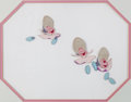 Animation Art:Production Cel, Alice In Wonderland Young Oysters Production Cel (WaltDisney, 1951)....