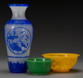Asian:Chinese, Three Beijing Glass Vessels, 20th century. 11 inches high (27.9 cm) (vase). ... (Total: 3 Items)